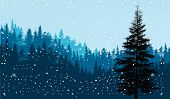 illustration with dark firs under snowfall