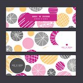 Vector abstract textured bubbles horizontal banners set pattern background