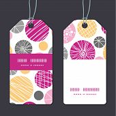 Vector abstract textured bubbles vertical stripe frame pattern tags set