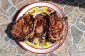 Plate With Grilled Pork Loin Chops