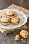 homemade cookie with peanuts and chocolate cream