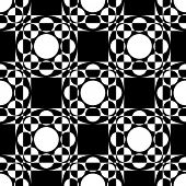 Abstract Square and Circle Pattern. Vector Seamless Black and White Background. Regular Checkered Texture