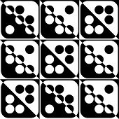 Abstract Circle and Square Pattern. Vector Seamless Black and White Background. Regular Domino Texture