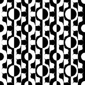 Abstract Circle Pattern. Vector Seamless Black and White Background. Regular Damask Wallpaper