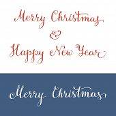 Hand written Merry Christmas and Happy New Year. Christmas greeting card. Vector illustration