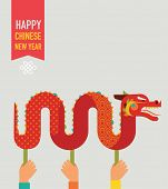 Chinese New Year background with red traditional dragon