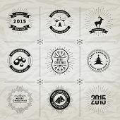 Vector black Christmas and New Year symbols collection. For your designs postcard, invitation, poster and others.