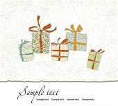 Vintage Christmas card with gift boxes. Vector illustration.