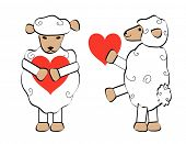 Two sheep with a heart symbol