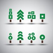Different Tree Designs - Collection of Minimalist Icons
