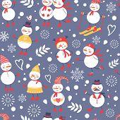 A cute snowmen seamless pattern