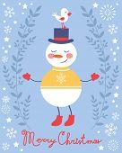 Cute snowman and bird Christmas card