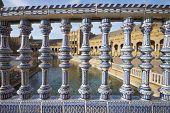 Ceramic fence in Spain's Square, located in the Parque Maria Luisa