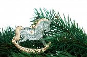 Christmas decoration horse with fir-tree on white