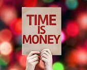 Time Is Money card with colorful background with defocused lights