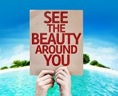 See The Beauty Around You card with a beach on background