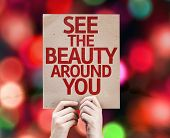 See The Beauty Around You card with colorful background with defocused lights