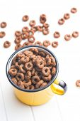 chocolate cereal rings in cup