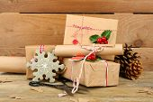 Beautiful Christmas composition with handmade gifts on wooden background