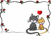 cats with blank card border vector