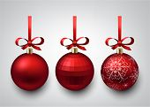 Vector illustration of shiny red christmas balls with gift bows. Winter decoration.