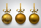 Vector illustration of shiny golden christmas balls with gift bows. Winter decoration.