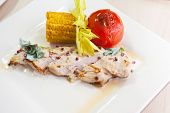 chicken breast meat with grilled vegetable