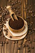 Ground Coffee Beans In A Wooden Bowl