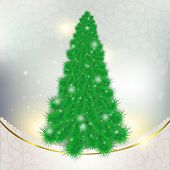 Christmas green tree on abstract background with snowflakes