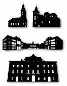 Collection of Building Silhouettes Vector