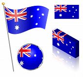 stock photo of flag pole  - Australian flag on a pole badge and isometric designs vector illustration - JPG