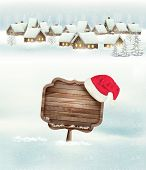 Winter holiday christmas background with a village, a sign and a santa hat. Vector