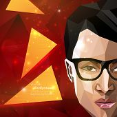 illustration with an asian man face in polygonal style. modern poster of fashion, beauty or entertai