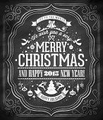 Hand Drawn Christmas And New Year Typographical Background On Chalkboard
