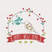 New Year card design with little bird
