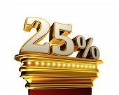 Twenty five percent figure on a golden platform with brilliant lights over white background