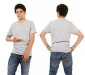 Teenage Male Wearing Blank Grey Shirt