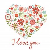 Concept love card with floral heart and handwritten letters