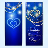 Vector Saint Valentine blue greeting card with hearts and golden jewelry