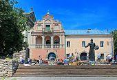 Book flea market near the monument of Ivan Fyodorov the first printer in Ukraine
