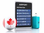 3D Canada Airport Board And Travel Suitcases On White Background