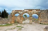 Ruins Of The Ancient City Of Hierapolis On The Hill Pamukkale, Turkey