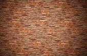 red brick wall or old dark brown, orange brick fences.