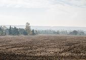 foto of smog  - Smog in a small village with a brown field - JPG