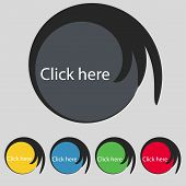 Click Here Sign Icon. Set Of Colored Buttons. Vector
