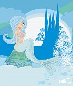 Illustration Of A Beautiful Mermaid,castle And Fish