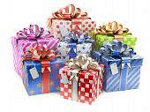 Gift Colored Boxes With Blank Gift Tag