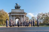 Unidentified Regiments As Part Of Remembrance Day Parade In Front Of Wellington Arch In London