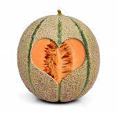 Cantaloupe melon with heart
