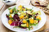 Avocado With Mango,rocket And Walnut Salad